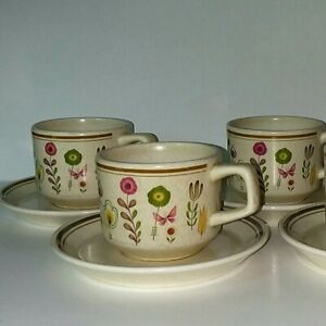 Lenox-Temperware-Cup-and-Saucer-Set-of-4-Sprite-Made-In-USA