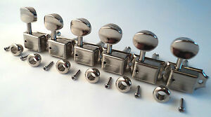 6-Vintage-Nickel-Split-Shaft-Kluson-Style-Machine-Heads-Tuners-Fender-Squier-8mm