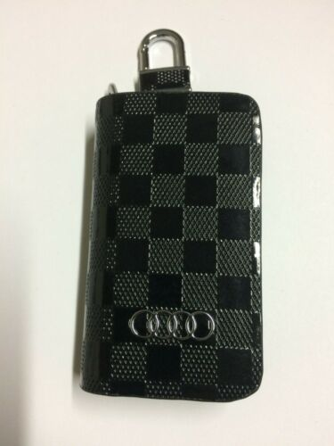 Audi Leather Case Keyfob Key Chain Cover Wallet Remote Control Bag Logo Black