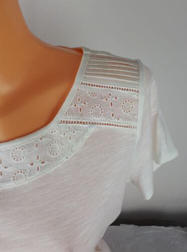 Ex M/&S Per Una Ladies Broderie Neck T shirt Modal Cotton Blend Size 6-20