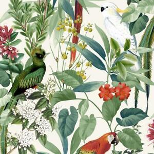 TempéRé Jungle Oiseaux Papier Peint Tropical Perroquets Floral Arbre Blanc Vert Vinyle Coller Paroi-afficher Le Titre D'origine Conduire Un Commerce Rugissant