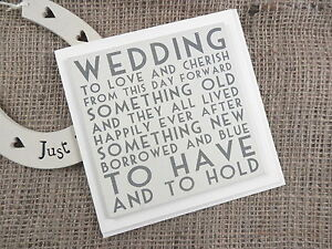 Wedding Greeting Card To Have & To Hold Keepsake Wood Plaque Shabby Chic Gift