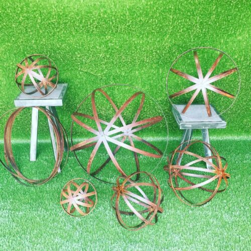 24/'/' Lawn Ornament Steel Garden Sphere Rusted Patina Finish Garden Sculpture