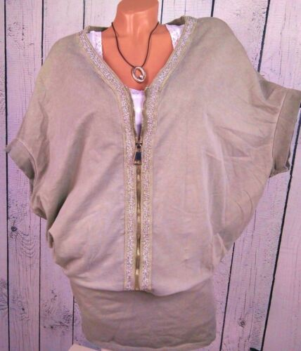 42 44 Oversize Fledermaus Sweatkleid Kleid Longshirt hell taupe mit Zipper Gr