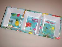 Citrus Grove Melamine Divided Snack Food Tray Condiment Blue Summer Holiday 15x6