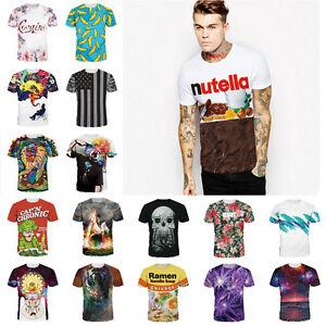 c1b20c64d219 Summer Men 3D Print Short Sleeve Tops Casual Slim Fit T-Shirt ...