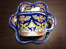 French Faience 19c Fourmaintraux Quimper Cup and Saucer
