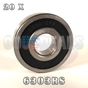 2PCS 6303-2RS 6303RS Deep Groove Rubber Shielded Ball Bearing 17mm*47mm*14mm