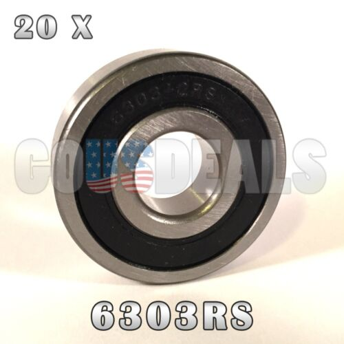 6303RS 6303-2RS Deep Groove Ball Bearing 17mm x 47mm x 14mm 20 Pcs