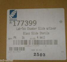 NALGE NUNC 177399 CHAMBER SLIDE W/ COVER, GLASS SLIDE STERILE 16pk