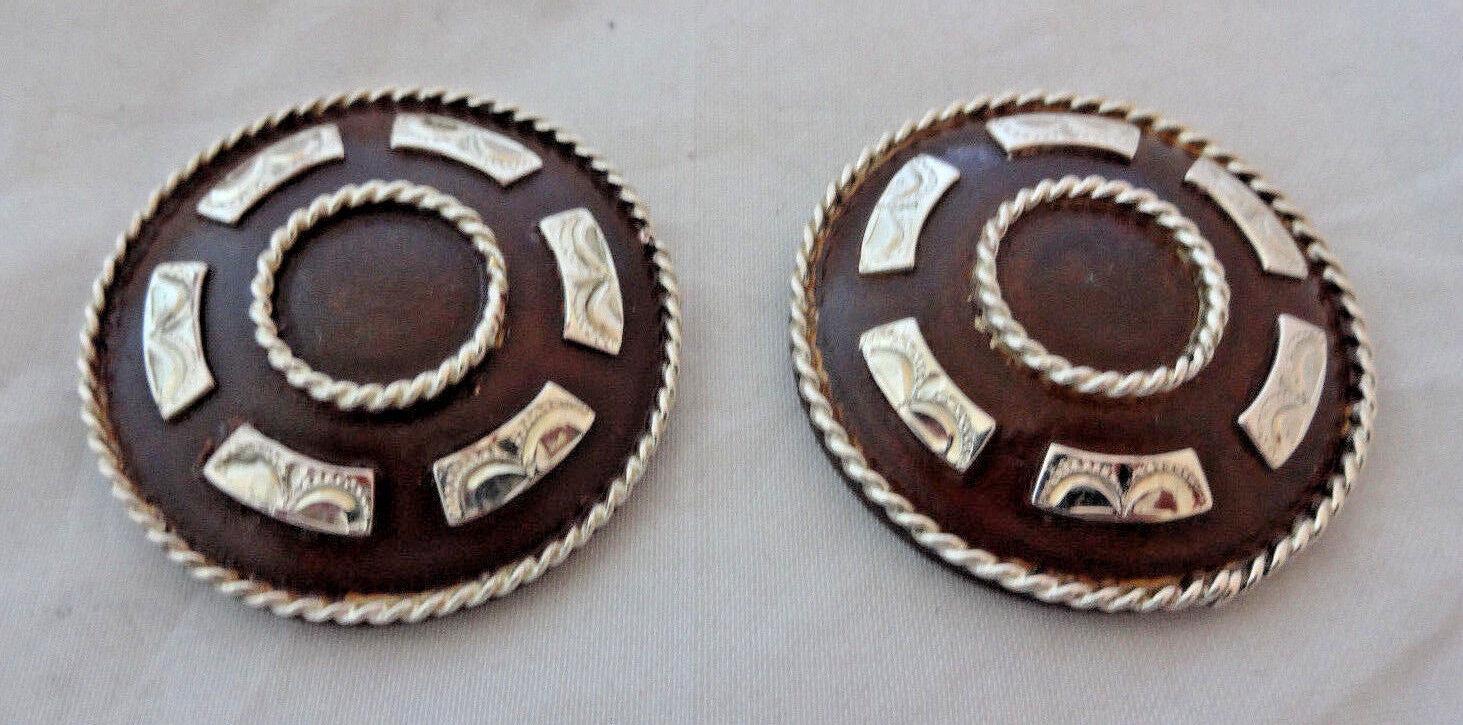 Superposición de plata de Hierro Marrón Poway Conchos 1 1 2  Rosca Trasera Hansen Western Gear