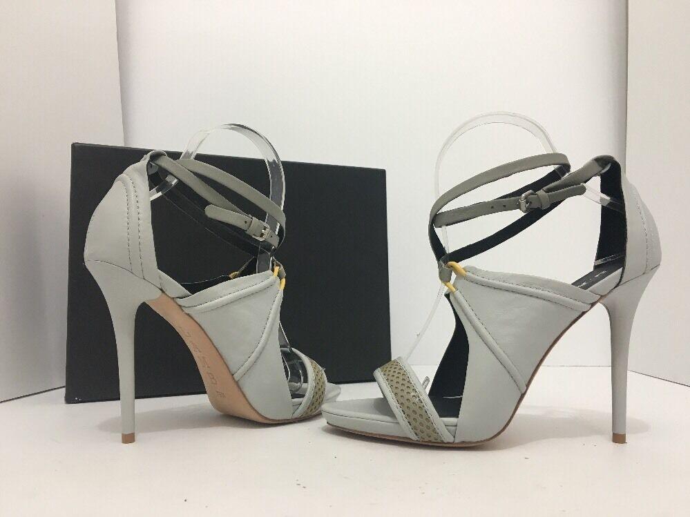 L.A.M.B. Bailey Light Grey Leather Women's Heels Sandals Size 7.5 M