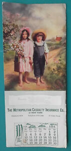 INK-BLOTTER-MAY-1914-Metropolitan-Casualty-NY-amp-Rustic-Children-Blooming-Trees
