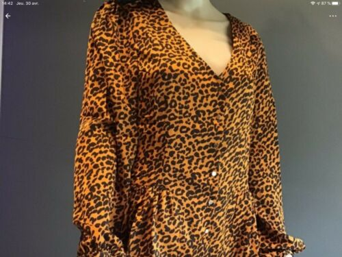 chemisier leopard marron taille M