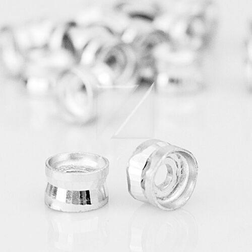 100pcs Cylinder Aluminium Metal Loose Beads Spacer Jewellery Crafts 4x6mm Silver