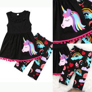 AU STOCK Unicorn Kids Baby Girls Outfits Clothes T-shirt Tops Dress+Shorts Pants