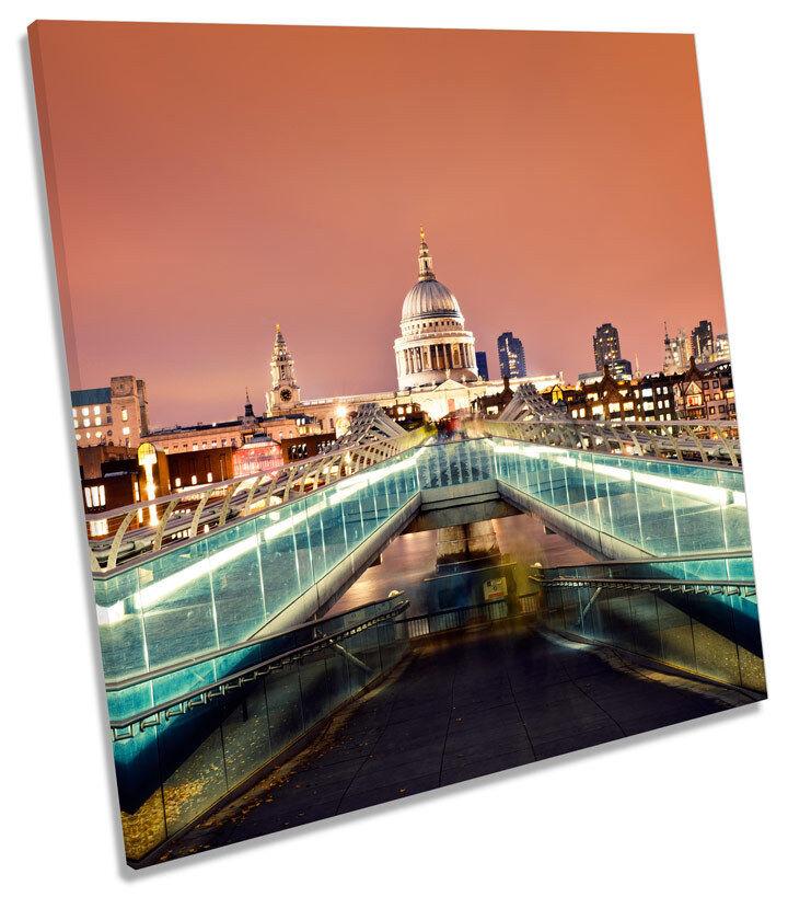 London Cathedral Millennium Bridge SQUARE BOX FRAMED CANVAS Kunst Drucken