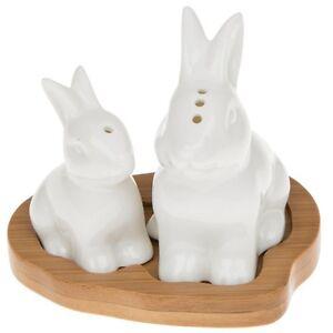 White-Ceramic-Baby-Bunny-Rabbit-Salt-amp-Pepper-Cruet-on-Bamboo-Wooden-Base