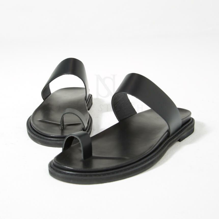 Newstylish homme fashion en cuir noir gros orteil Slipper