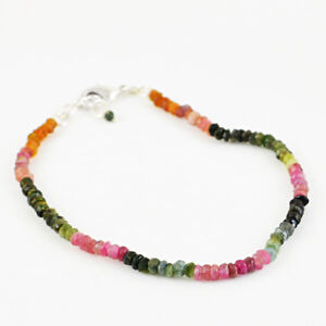 Round Shape 34.00 Cts Earth Mined Faceted Watermelon Tourmaline Beads Bracelet