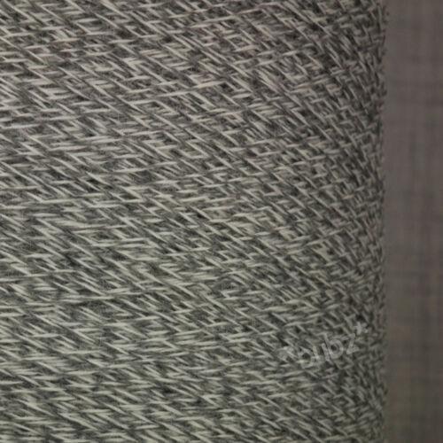 MERINO WOOL YARN 500g CONE 2 PLY WHITE GREY TWEED MACHINE KNITTING NYLON SOCK