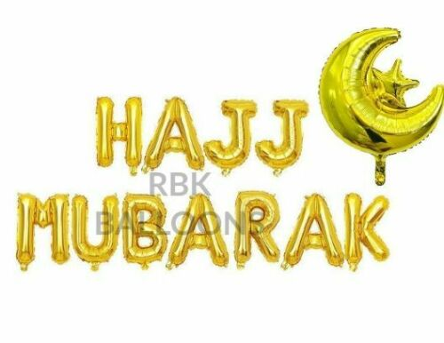 "16/"" Hajj Mubarak Umrah Mubarak Foil Balloons Rose Gold Silver Confetti Baloons.."