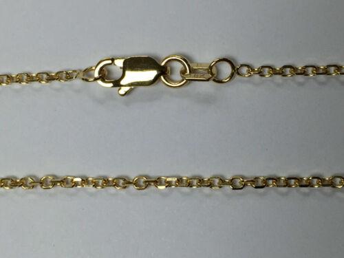 "18kt 18K or Jaune 16/"" 18/"" 1.5 mm Diamond Cut Câble Chaîne Collier Sautoir Homard"