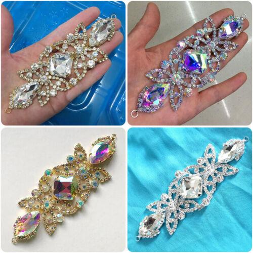 Rhinestone Crystal Beaded Applique for Wedding Bridal Sash Belt Costume Decor