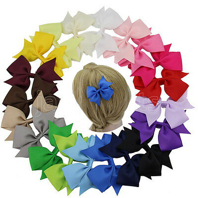"20pcs 4"" Hair Bow Hair Clips Boutique Girls Baby Grosgrain Ribbon Mix 20 Colors"