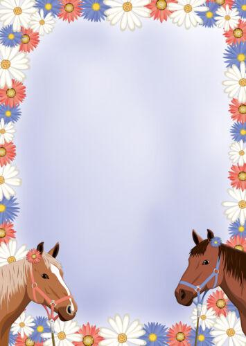 20 Kuverts Pony Mappe 20 Blatt A4 zwei Pferde Motivpapier Briefpapier inkl