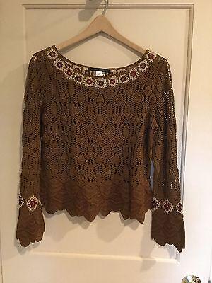 Peruvian Connection Shoshone Pullover Pima Cotton Crochet Top Sz M.        *2448