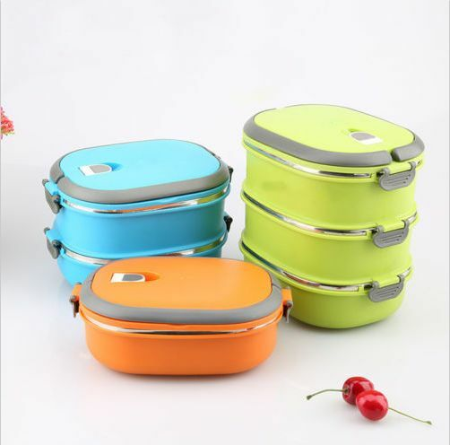 Plastic Bento Insulated Lunch Box Food Container Thermo Server Double
