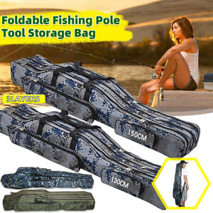 130-150cm-Fishing-Bag-Fish-Rod-Tackle-Holdall-Carrier-Canvas-Pole-Tools-UK