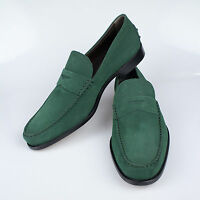 Nib. Tod's Green Suede Leather Penny Loafers Casual Shoes 10 $550 on sale