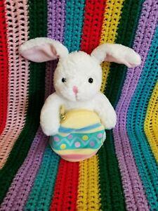 Adorable-Vintage-Hallmark-Plush-White-Easter-Bunny-Rabbit-w-Colorful-Zip-Up-Egg