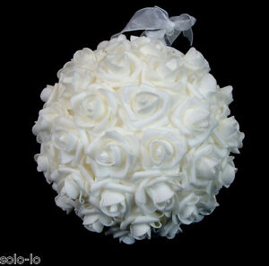 White rose hanging kissing ball flower balls 20cm home wedding party image is loading white rose hanging kissing ball flower balls 20cm mightylinksfo