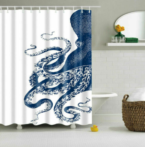 Blue Octopus Polyester Waterproof Bathroom Fabric Shower Curtain 12 Hook
