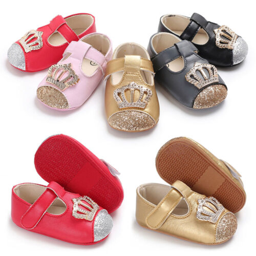 Baby Infant Kids Girls Leather Crown Soft Sole Crib Toddler Newborn Shoes Boots