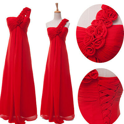 Sexy One Shoulder Wedding Party Bridesmaid Prom Gown Formal Evening Dresses