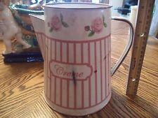 "Enamelware Creamer Or Milk Pitcher White Floral Trim Large 9"" OLD Farmhouse"