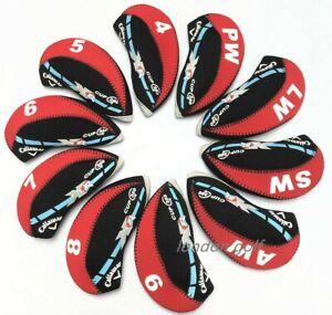 10pcs-Qualitaet-schwarz-amp-rot-Callaway-XR-Golfschlaeger-Eisen-Abdeckungen-Headcovers-UK-Lager