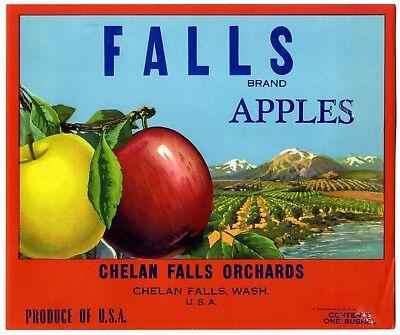 """FALLS"" Brand ORIGINAL 1930s CHELAN WASHINGTON AUTHENTIC APPLE FRUIT CRATE LABEL"