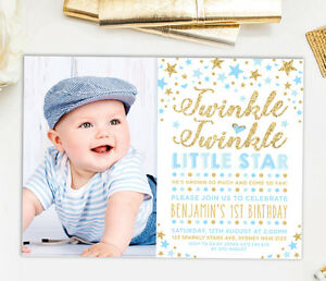Image Is Loading Twinkle Little Star Invitation Baby Blue Gold First