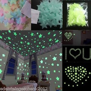 F1-100PCS-3D-Glow-in-the-Dark-Sterne-Leuchtsterne-Sternenhimmel-Wandsticker-DIY