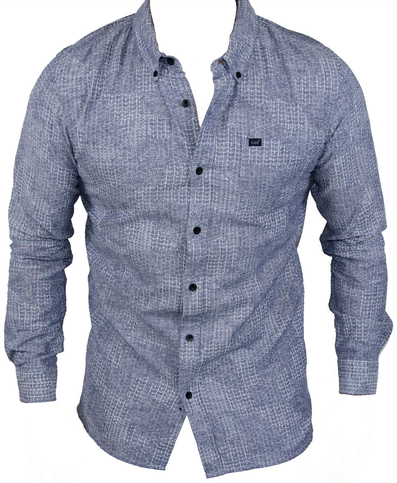 New Lee Mens Button Up Casual Shirt in bluee Colour Size S