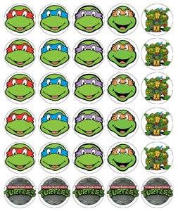 30x Teenage Mutant Ninja Turtle Cupcake Toppers Edible Wafer Fairy Cake Toppers