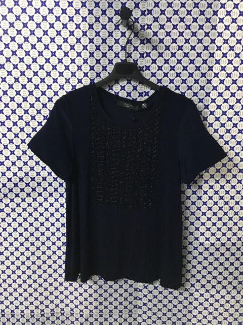 T-Shirt Weekend Max Mara damen - Doppio Tessuto Plastron - Blau Navy - TETI