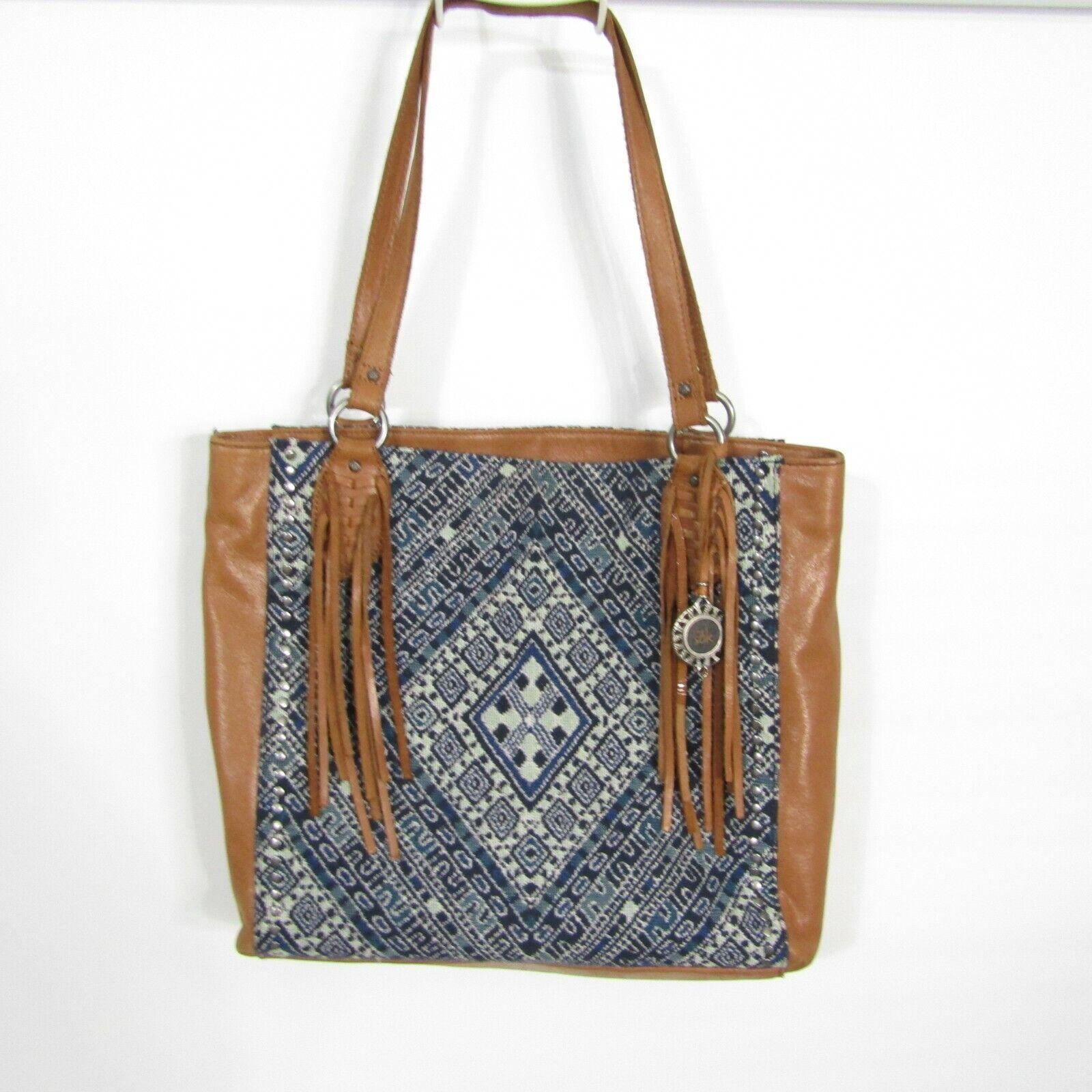 The Sak Shoulder Bag Montara Leather Tote Bag Blue Diamond Bag Fringe Boho