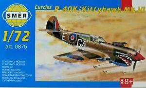 SMER-CURTIS-P-40K-Kitty-Hawk-Royal-Air-Force-Bausatz-1-72-0875-40-Teile-OVP-NEU