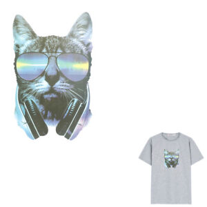 Music-Cat-Iron-on-Patches-Washable-Heat-Transfer-Stickers-T-shirt-Appliques-Pip
